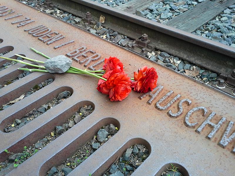 Gedenkstätte Berlin Grunedorf. Drei Rosen liegen auf dem Boden. Auf dem Stil der Rosen liegt ein Stein.